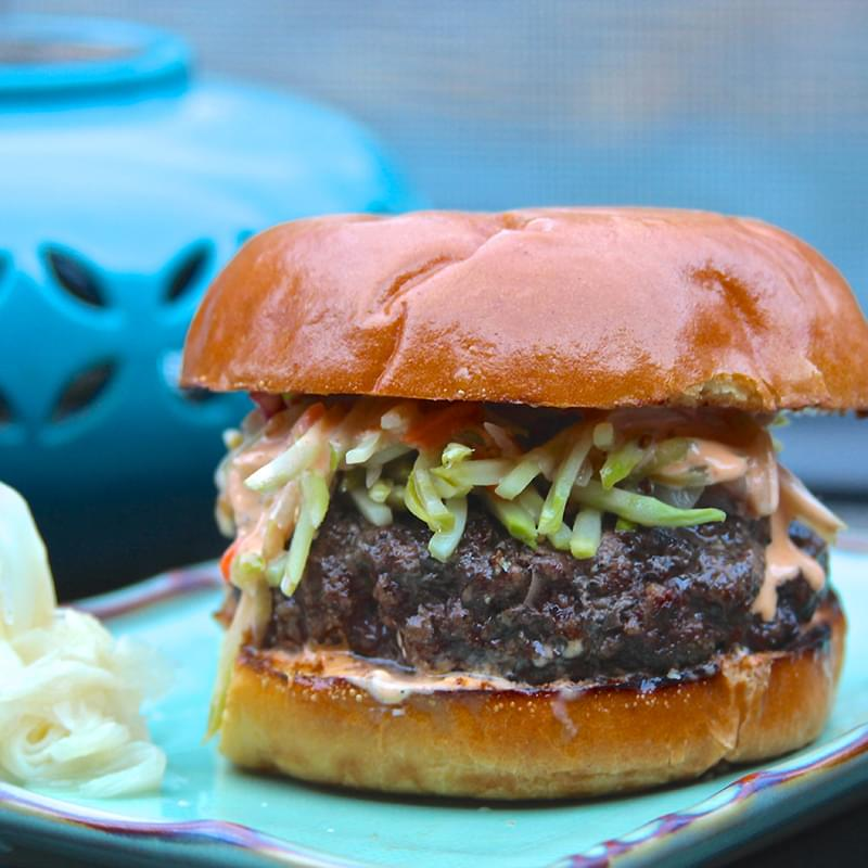Asian Burger with Pickled Ginger Slaw