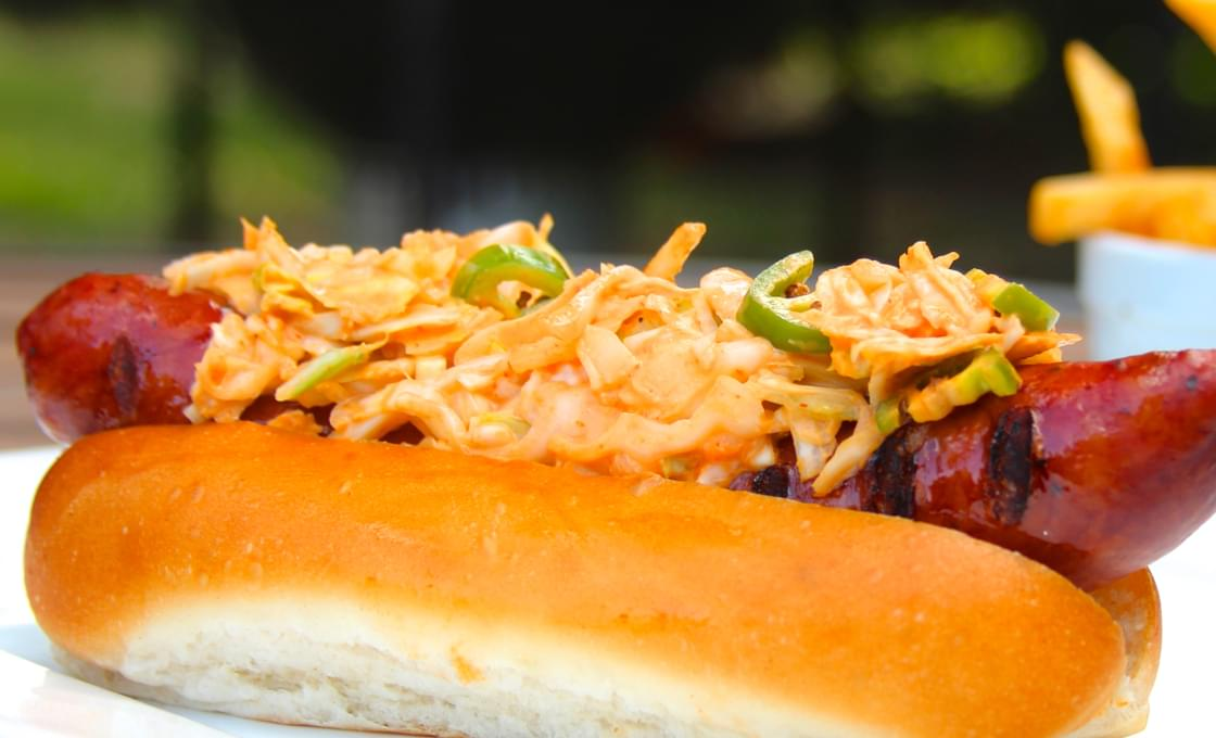 Andouille Sausage Dogs with Sriracha Jalapeño Slaw