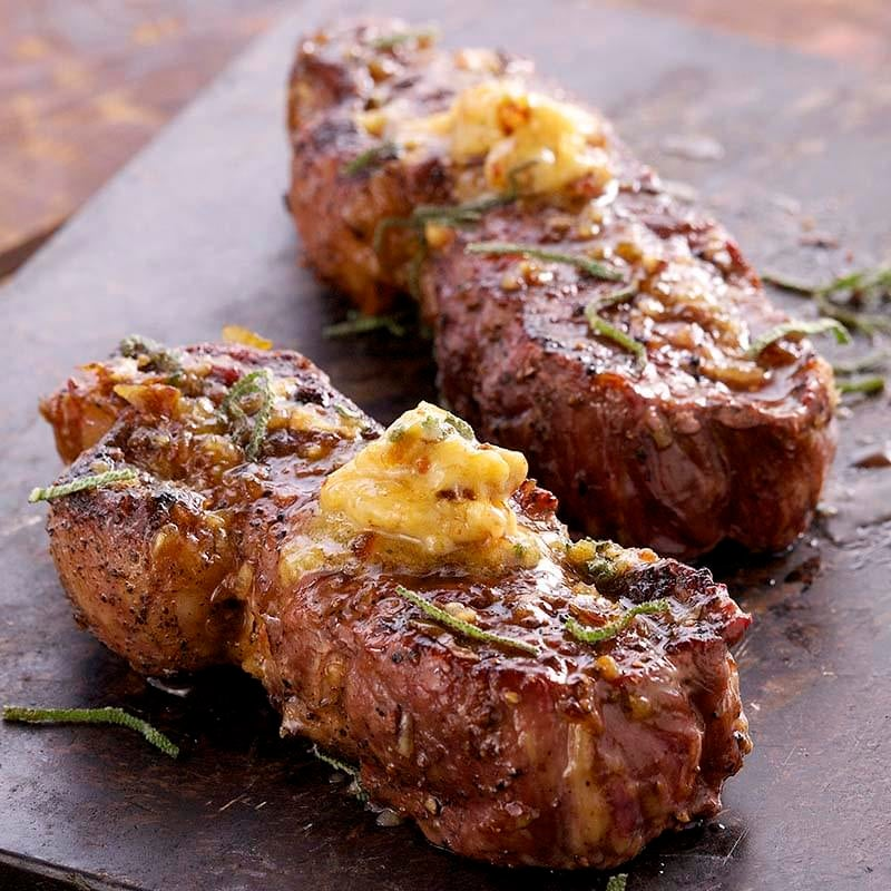 Grilled Buffalo Steaks with Honey Date Butter