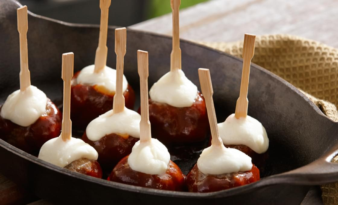 BBQ Meatball Skewers with Mozzarella