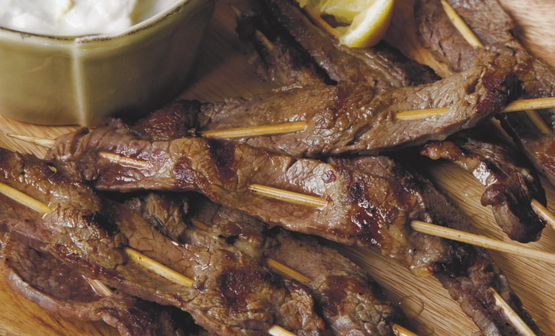 Lemon Flank Steak Skewers