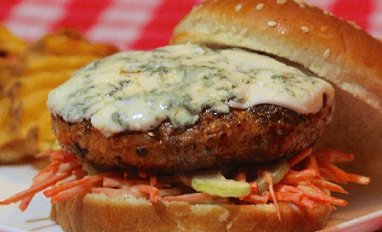 Buffalo Chicken Burger with Blue Cheese and Carrot-Celery Slaw